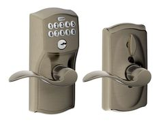 Schlage FE595-CAM-ACC Camelot Keypad Entry with Flex-Lock Door Lever Set with Ac Antique Pewter Leverset Keyless Entry Electronic