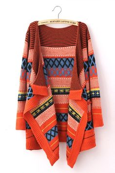 Colored Diamond Print Cardigan
