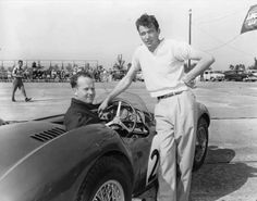 Charles Wallace, at wheel, and † Carroll Shelby in Sebring, Fla., in March 1954.  ( James P. Kerlin / Associated Press )
