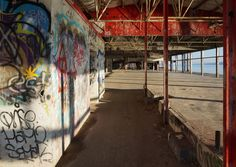Graffitied interior of Hutton Company Brick Works factory building
