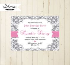 21st birthday 30th birthday 40th birthday 50th birthday 60th birthday women birthday invitation woman invite grey and pink pink damask by RebeccaDesigns22, $9.99