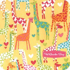 Giraffes fabric with yellow background