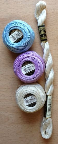 Pearl cotton, used for hardanger embroidery, in three sizes