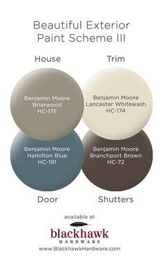 Exterior Paint Schemes for Your Charlotte House Beautiful Benjamin Moore Exterior Paint Scheme Benjamin Moore Exterior Paint, Exterior Paint Schemes, Exterior Paint Colors For House, Paint Colors For Home, Beige House Exterior, Cabin Exterior Colors, Outdoor Paint Colors, Exterior Paint Color Combinations, Exterior Doors
