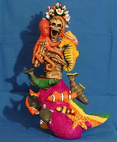 Concepcion Aguilar of Ocotlan Oaxaca Mexico ~ Skeleton Mermaid