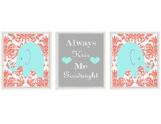 Elephant Nursery Art Prints  Aqua Coral Damask by RizzleandRugee, $42.00