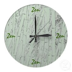 'ZEN BAMBOO' WALL CLOCK, by The Flying Pig Gallery on Zazzle (lizadeyphoto) - This wall clock features a background of bamboo reeds with the word 'Zen' marking the hour at 12:00; 3:00; 6:00 and 9:00. A great way to remind you that time is not as important as we all make it,. Perfect for yoga studios or spas!