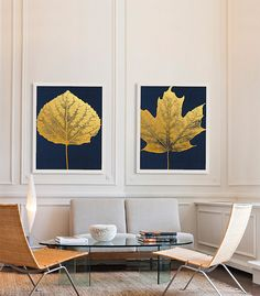 These two large, graphic gold leaf prints are great artwork for staging a home to sell. They are neutral without being boring, make a design statement and give the room a feeling of luxury.