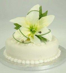 Ivory Silk Casablanca Lily Wedding Cake Spray Topper