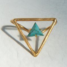 14K gold Turquoise Triangle Knuckle Ring by shopGEMINIrising