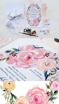 """Watercolor Rose Wedding Invitations  - notice the brushstrokes of creamy pink and white paint on each.   """"They are the flowers of love and faith."""" - Lucy Maud Montgomery  Momental Designs  #watercolor #weddinginvitations #rosewedding #handpainted"""