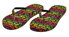 Robin Ruth New York Black/Neon Rainbow Original Flip Flops -- Read more reviews of the product by visiting the link on the image.