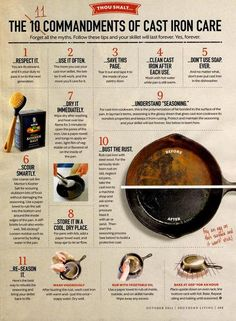 Cast Iron care tips. 11 easy to use tips for taking care of your cast iron pan. Iron Skillet Recipes, Cast Iron Recipes, Clean Cast Iron Skillet, Season Cast Iron Skillet, Cast Iron Dutch Oven, How To Clean Skillet, Chicken Cast Iron Skillet, Skillet Food, Cast Iron Steak