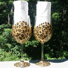 Leopard hand painted wine glasses by GlassesbyJoAnne on Etsy, $40.00