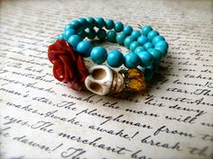 Day of the Dead Sugar Skull Classic Bracelet - Turquoise Howlite Beads,  Dia De Los Muertos Bracelet - Sugar Skull Bracelet, Frida Kahlo by MadeFromAbove on Etsy