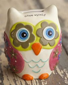 """#Owl Bank - """"Save Wisely"""" #money #decor"""
