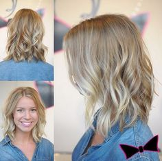Balayage highlights through a pearl glaze for gorgeous Cami! Medium Wavy Hairstyles for Thin Hair