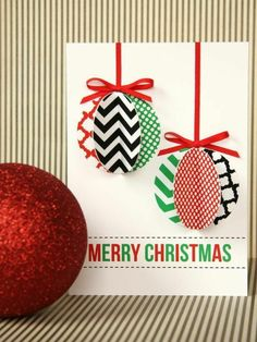 Christmas cards crafts 3d Christmas baubles from paper