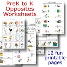 Printable Language Arts FREEBIE of the Day: Opposites Worksheets packet -- 12 pages of fun!