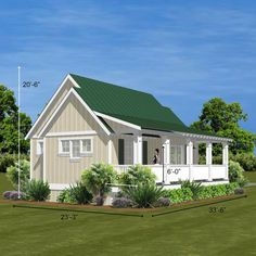 """Cascade floor plan with a Charleston full length porch """" and more… Main roof 12/12 pitch Vaulted Ceiling height 15' 5'' Flat ceilings 9′ Porch front and side 5' x 16' 7"""" x 33' 8.5"""" and more… (download pdf)"""