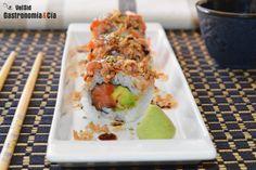 Uramaki con salmón a la llama