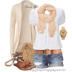 White T-Shirt + Denim Shorts + Beige Cardigan + Beige Scarf + Brown Shoes + Brown Belt + Brown Bag + Beige Earrings = Great Casual Outfit (Summer Outfit)