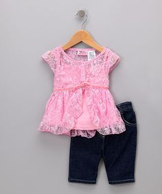 Take a look at this Pink Lace Layered Top & Jeans - Toddler on zulily today!