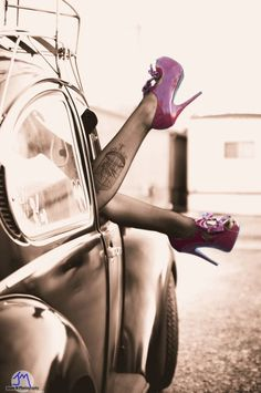 Vw beetle #sexy pinnup # heels # tattoo... ♠♠♠ XBrosApparel Vintage Motor T-shirts, VW Beetle & Bus T-shirts, Great price