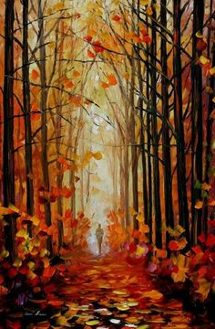 """Bedroom Decor Autumn Oil Painting On Canvas By Leonid Afremov - Orange Path. Size: 24 """"X inches cm x 90 cm) - Autumn Painting – Orange Path – Forest Oil Painting on Canvas by Leonid Afremov. Woodland art f - Autumn Painting, Oil Painting On Canvas, Orange Painting, Painting Clouds, Knife Painting, Painting Flowers, Seascape Paintings, Landscape Paintings, Oil Paintings"""