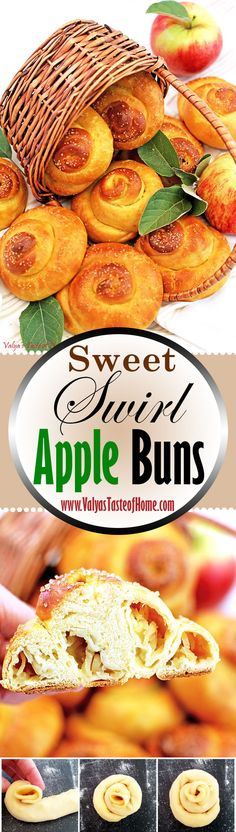 These super soft, swirled Sweet Swirl Apple Buns with apple stuffing are wonderful comfort fall treat. The juicy grated apples make them incredibly moist, delicious, and irresistible! They look so beautiful and glossy after being brushed with the egg glaze and sprinkled with organic raw sugar. You just wanna eat them raw, like cookie dough! ;) We LOVE them!   www.valyastasteofhome.com