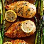 One Pan Honey Lemon Chicken Asparagus is THE ultimate sheet pan meal, perfect for meal preps or for lunch and dinner! | http://cafedelites.com