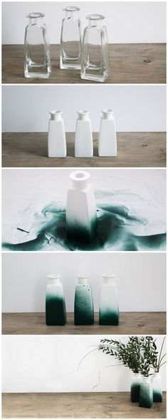 DIY Idee Vasen Upcycling mit grüner Sprühfarbe | Do it yourself idea | flower vase design crafted with green spray paint | Deko basteln | Recycling | upcycle | Geschenk | Geschenkidee | gift idea | grüne Farbe | green paint | reuse | Anleitung | Tutorial | kreativ | schereleimpapier