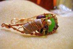 Copper Wire Mixed Bead Bracelet Cuff