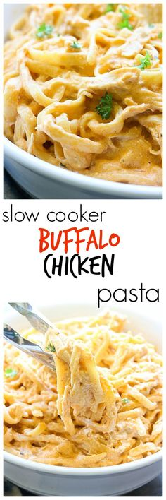 Slow cooker recipes are some of the best out there. This Buffalo Chicken Pasta i… Slow cooker recipes are some of the best out there. This Buffalo Chicken Pasta is no exception. It's so creamy and has a little kick with buffalo wing sauce! Crockpot Dishes, Crock Pot Slow Cooker, Crock Pot Cooking, Slow Cooker Recipes, Cooking Recipes, Crockpot Meals, Crock Pots, Paleo Meals, Healthy Meals