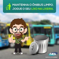 Arte criada para conscientização do lixo nos ônibus.