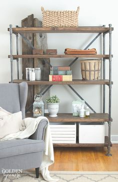 DIY Industrial Pipe Shelving Unit from the Golden Sycamore | Friday Favorites at…