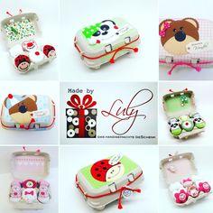Eierbox mit Babyzubehör Handgemachte Babygeschenke www.facebook.com/madebyLuly