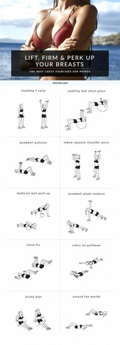 Breast workout women perky at home gym natural breast lift exercises for women Chest Workout For Men, Workout Women, Dumbbell Chest Workout, Home Chest Workout, Dumbbell Exercises, Band Exercises, Compound Exercises, Weight Exercises, Workout Exercises