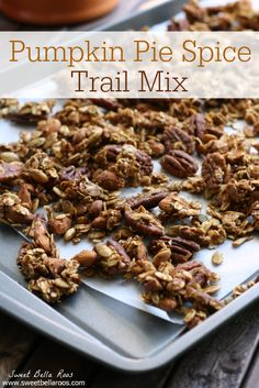 Pumpkin Pie Spice Trail Mix- taste of Fall with pepitas, pecans, almonds, and rolled oats