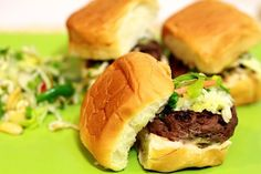 Save this recipe for your big game celebrations: Slam-Dunk Asian Sliders! Meat Recipes, Asian Recipes, Ethnic Recipes, Gourmet Recipes, Pork Sliders, Slider Sandwiches, Asian Slaw, Pork Buns, Hoisin Sauce