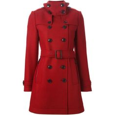 Burberry Brit Double Breasted Belted Coat ($1,178) ❤ liked on Polyvore featuring outerwear, coats, jackets, red, casacos, coat with belt, burberry, belt coat, burberry coat and red coat