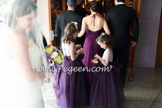 Lavender and Purple Silk and Tulle Custom Silk Flower Girl Dress Style 402