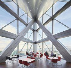 JTI Headquarters | SOM   #Geneva #Headquarter #officebuilding #SOM #Switzerland Corporate Interiors, Office Interiors, Landscape Concept, Glass Facades, Interior Design Magazine, Steel Buildings, Contemporary Architecture, Amazing Architecture, Installation Art