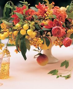 Seasonal Fruit and Floral Centerpieces