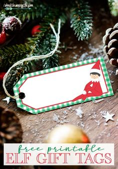 These free printable Elf Gift Tags are available in two color options. Perfect for your Elf on the Shelf goodies! Christmas Name Tags, Free Printable Christmas Gift Tags, Free Printable Gift Tags, Holiday Gift Tags, Templates Printable Free, Christmas Crafts, Christmas Ideas, Christmas Ornament, Holiday Ideas