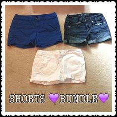 BUNDLE American Eagle Shorts They are navy blue, white, and a dark wash jean. The blue and white ones have never been worn. The jean ones have but not very much. American Eagle Outfitters Shorts Jean Shorts
