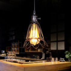 Individuality creative design cage chandelier Northern Europe retro charming iron single light fixtures for dining room bar Birdcage Chandelier, Chandelier Lamp, Cage Pendant Light, Pendant Lamp, Vintage Wall Lights, Vintage Walls, Small Bird Cage, Rustic Restaurant, Restaurant Bar