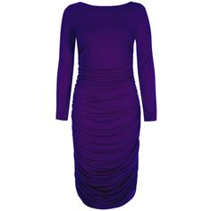 BT Knit Ruched dress in unique thinheat fabric ($145) ❤ liked on Polyvore featuring dresses, clearance, purple, purple long sleeve dress, long sleeve midi dress, night out dresses, knit midi dress and ruched dress