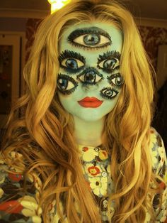 Halloween makeup   DIY @Irene Hoffman Impens .. you need to make a Cheshire Cat Costume.... Add to the Queen of Hearts and the Mad Hatter.... you could do the Rabbit, tweedle dee and dum..... (there's always next year)