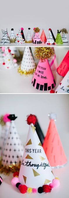 DIY New Year's Resolution Party Hats / / DIY Partyhüte / / in Liebe gehen. Party Fiesta, Nye Party, Festa Party, Party Hats, Party Time, Party Fun, New Year's Crafts, Holiday Crafts, Holiday Fun